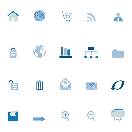 Internet, e-commerce, web icons in blue tones Stock Vector - 12305246