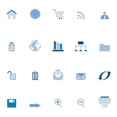 organizational chart: Internet, e-commerce, web icons in blue tones