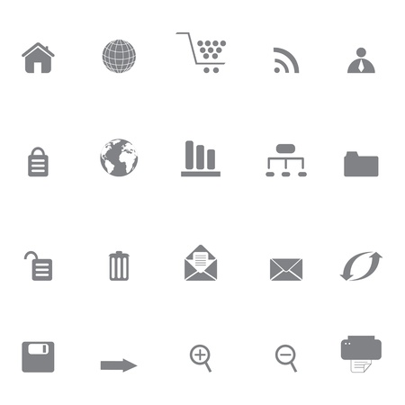 organizational chart: Internet and web site icon set in grayscale Illustration