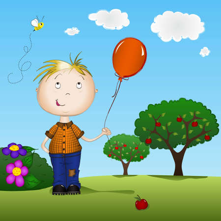 naughty boy: Boy holding a balloon outdoors on spring day Illustration