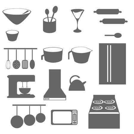 measuring spoons: Kitchen objects icons in grayscale or silhouette