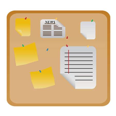 매달려 서류와 함께 게시 또는 메시지 보드