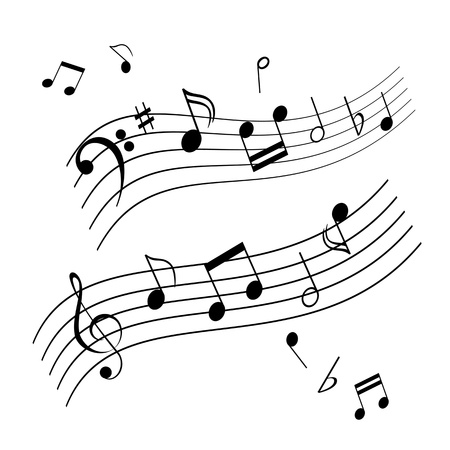 Musical notes on music sheet Иллюстрация