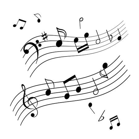 Musical notes on music sheet Vettoriali