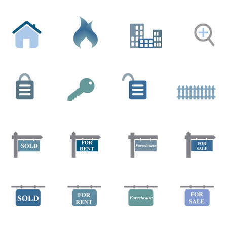 Real estate related symbols icon set Stock Vector - 12305341