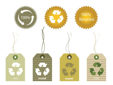 Diverse vormen van gerecyclede materialen labels Stock Illustratie