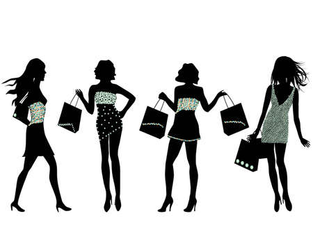 Silhouettes of stylish woman with shopping bags Stok Fotoğraf - 12305478
