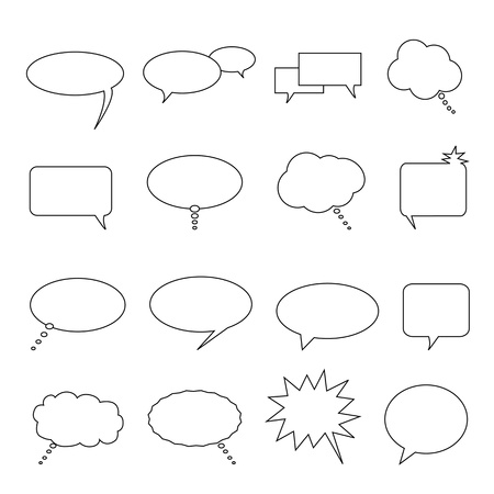 Speech, thought and talk balloons and bubbles Vector
