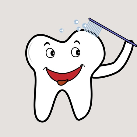 Molar tooth brushing itself for good dental hygiene Vector