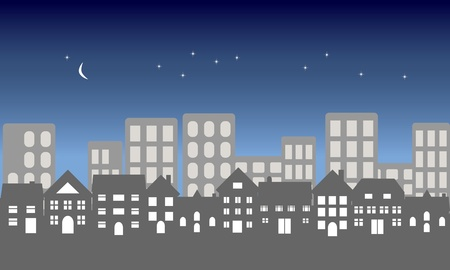 Suburban homes in front of a city at night Ilustração