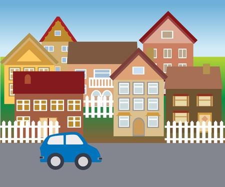 Mooie buurt met suburbane woningen Stockfoto - 12305271