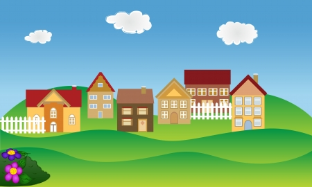 Beautiful residential neighborhood in spring time Illustration
