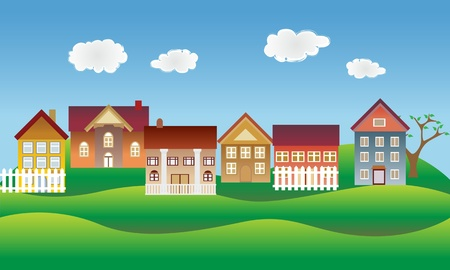 Beautiful village, town or neighborhood on green hills Vector