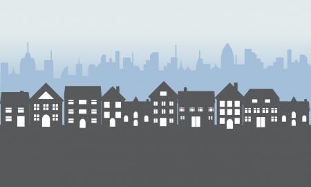 Barrio con casas suburbanas en la noche
