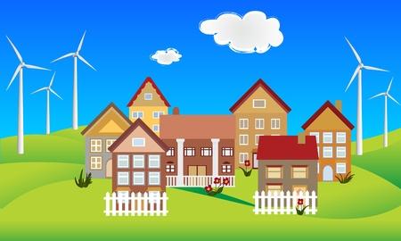 푸른 언덕에 환경 친화적 인 도시 스톡 콘텐츠 - 12305480