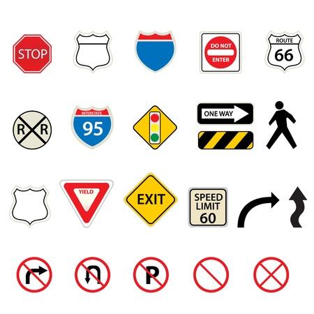 様々 な交通と道路標識  イラスト・ベクター素材