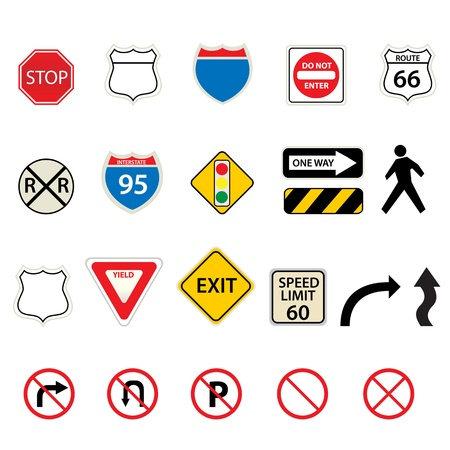 Various traffic and road signs Stock Vector - 12305314