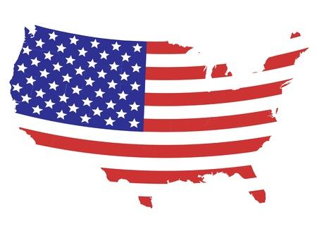 Karte der Vereinigten Staaten von Amerika mit der amerikanischen Flagge Design