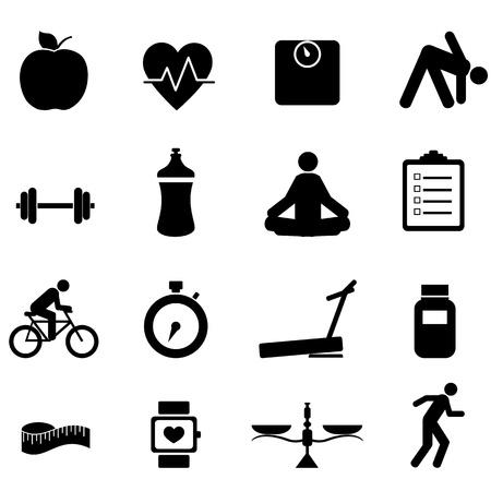 weights: Fitness e dieta icon set in nero Vettoriali