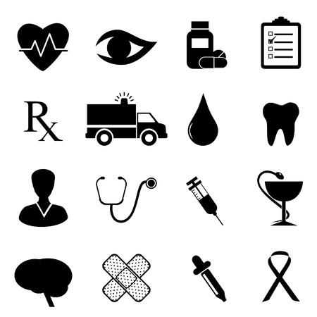 Gesundheit und medizinische Icon Set in Black