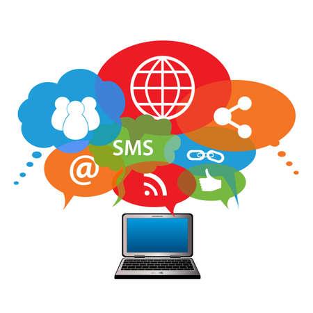 Social network symbols in speech balloons Иллюстрация