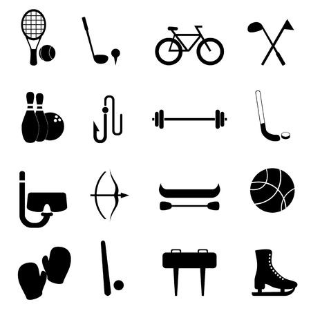 Sport-en vrijetijdsartikelen icon set Stock Illustratie