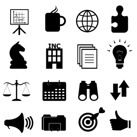 Business objects and tools icon set Vectores