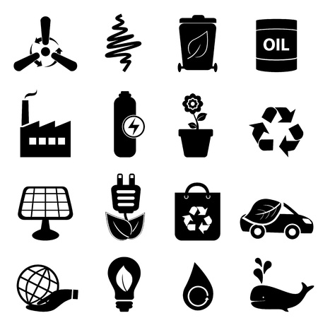 Clean energy and environment icon set Vector