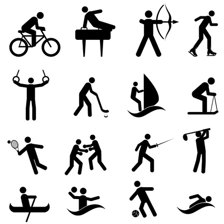 Sports and athletic icon set in black Vector