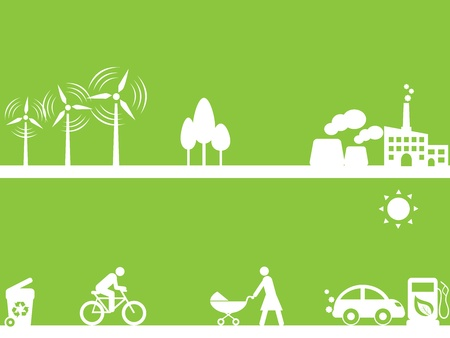 Clean energy sources and environment Illustration