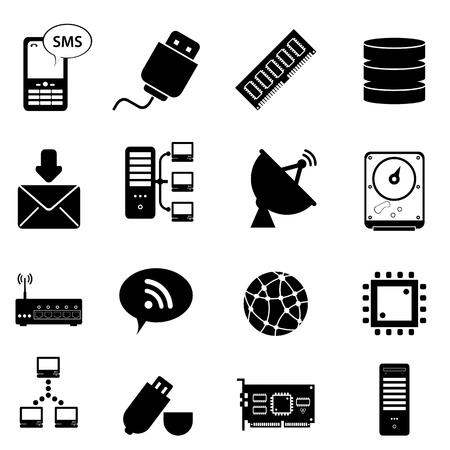 databank: Computer en technologie icon set Stock Illustratie