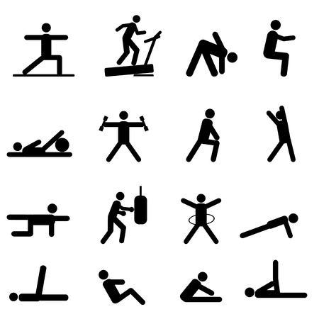 Fitness and exercise icon set in black Vector