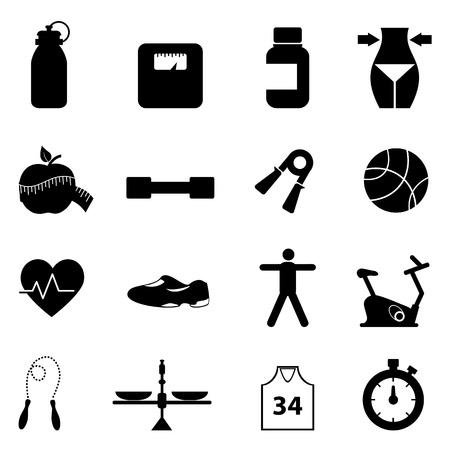Fitness, dieet en een gezonde levensstijl icon set Stock Illustratie