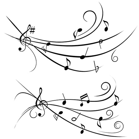 treble clef: Various music notes on ornamental staff