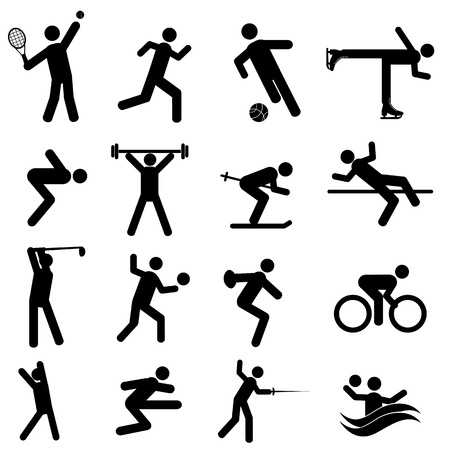 Sports and athletics icon set in black Vector