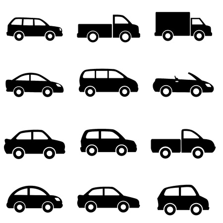 sedan: Cars and trucks in black Illustration