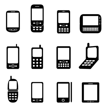Various cell phones and tablets Иллюстрация