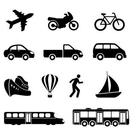 Icons für verschiedene Fortbewegungsmittel
