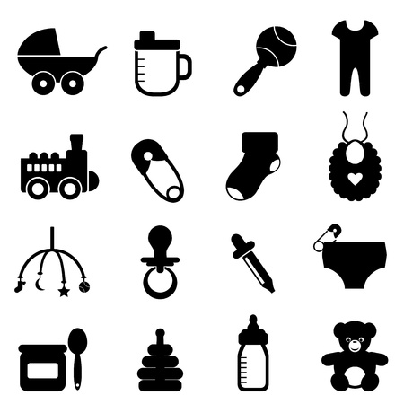 soother: Baby objects icon set in black Illustration