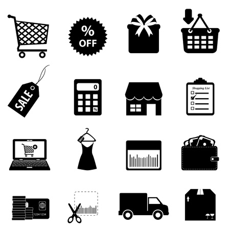 shopping cart online shop: Shopping and ecommerce icon set
