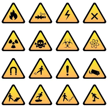 警告および危険標識アイコンを設定  イラスト・ベクター素材