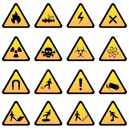 flammable warning: Warning and danger signs icon set Illustration