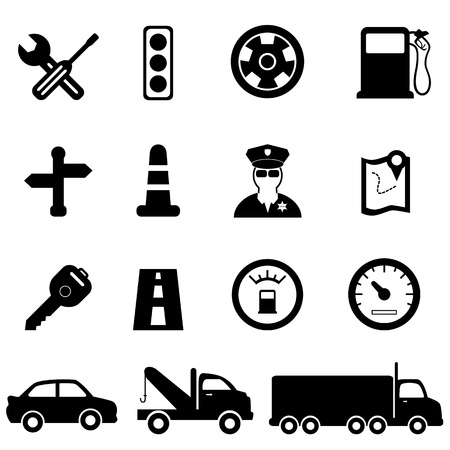 Driving, road and traffic icon set