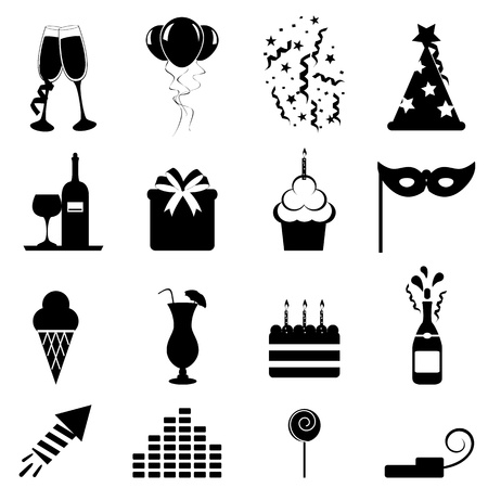 Party and celebration icon set Vector