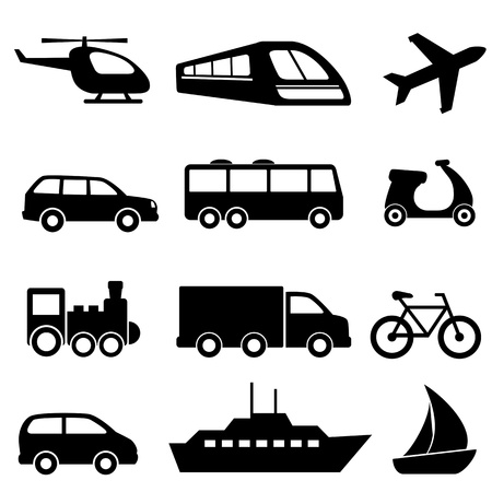 transportation silhouette: Icons for various means of transportation