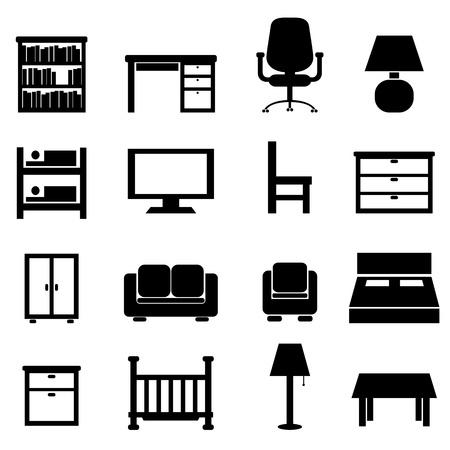 mobiliario de oficina: Casa y un conjunto de muebles de oficina icono Vectores