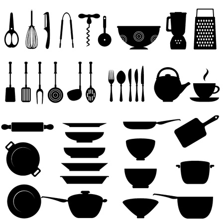 Kitchen utensils and tool icon set Vectores