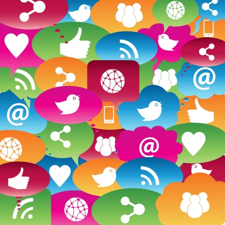 Social network icons in talk bubbles Stock Vector - 14523322
