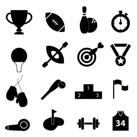 Deportes conjunto de iconos relacionados en negro Ilustración de vector