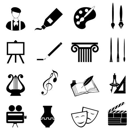 artes plasticas: Artes conjunto de iconos en negro